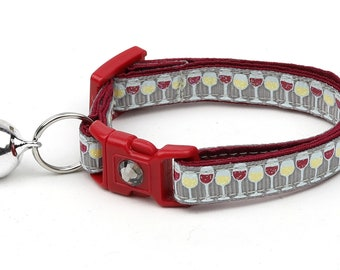 Wine Cat Collar - Wine Glasses on Silver - Small Cat / Kitten Size or Large Size B3D27