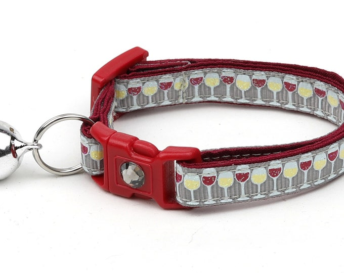 Wine Cat Collar - Wine Glasses on Silver - Small Cat / Kitten Size or Large Size