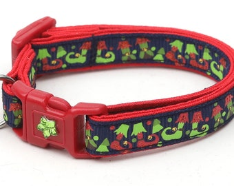 Christmas Cat Collar - Jolly Elf Boots on Navy Blue - Kitten or Large Size