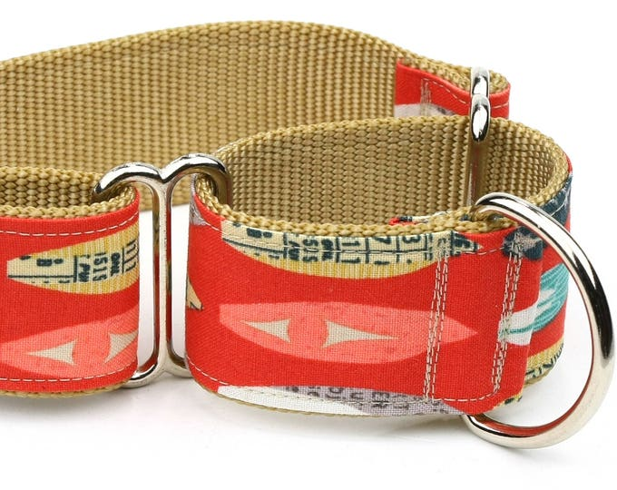 "Whippet Dog Collar - Vintage Surfboards - 1.5"" Martingale Dog Collar"