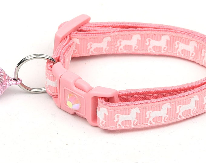 Horse Cat Collar - White Horses over Pink - Kitten or Large Size - Breakaway Cat Collar