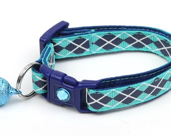 Argyle Cat Collar - Navy Argyle on Aqua - Small Cat / Kitten Size or Large Size B36D31