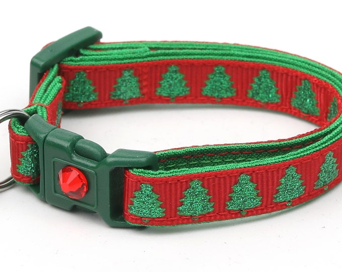 Christmas Cat Collar - Glittering Christmas Trees on Red - Kitten or Large Size