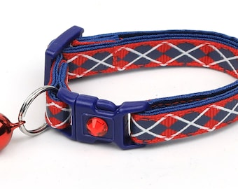 Argyle Cat Collar - Navy Argyle on Red - Small Cat / Kitten Size or Large Size