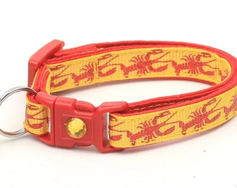 Nautical Cat Collar - Lobster on Yellow - Kitten or Large Size - Tropical - Ocean B48D124