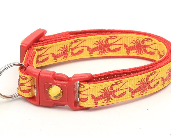 Nautical Cat Collar - Lobster on Yellow - Kitten or Large Size - Tropical - Ocean