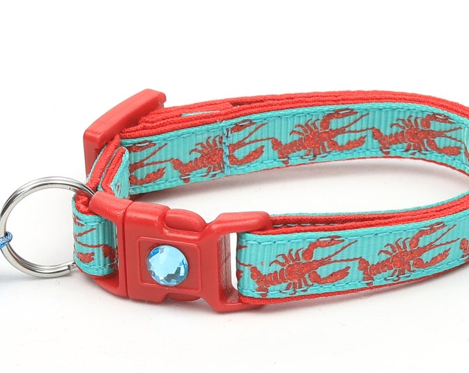 Nautical Cat Collar - Lobster on Aqua - Kitten or Large Size - Tropical - Ocean