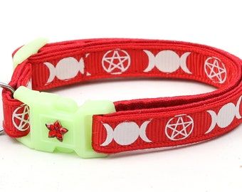 Wicca Cat Collar - Witch's Familiar on Red - Breakaway Cat Collar - Kitten or Large size - Glow in the Dark