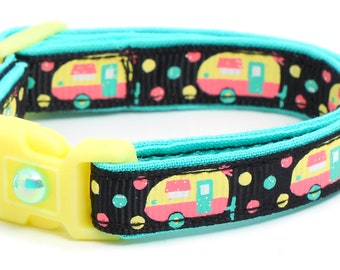 Camper Cat Collar - Campers on Black - Small Cat / Kitten Size or Large Size B2D120