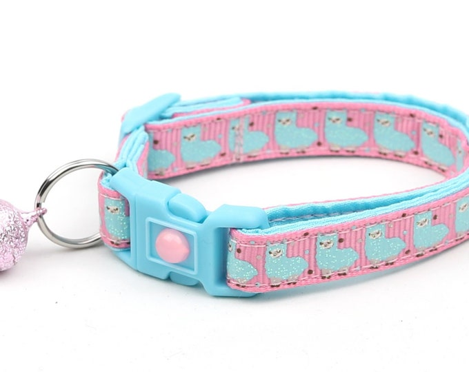 Llama Cat Collar - Cute Blue Llamas on Pink - Kitten or Large Size