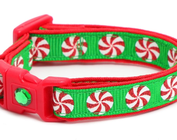 Christmas Cat Collar - Peppermints on Green - Kitten or Large Size B28D273