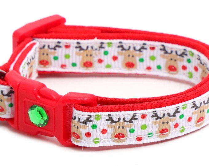 Christmas Cat Collar - Jolly Reindeer on White - Small Cat / Kitten Size or Large(standard) Size Collar B51D46