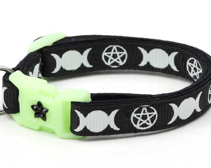 Wicca Cat Collar - Witch's Familiar on Black  - Breakaway Cat Collar - Kitten or Large size - Glow in the Dark