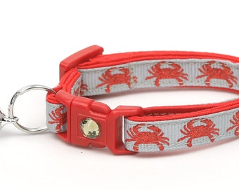 Beach Cat Collar - Crabs on Silver - Kitten or Large Size - Tropical - Nautical