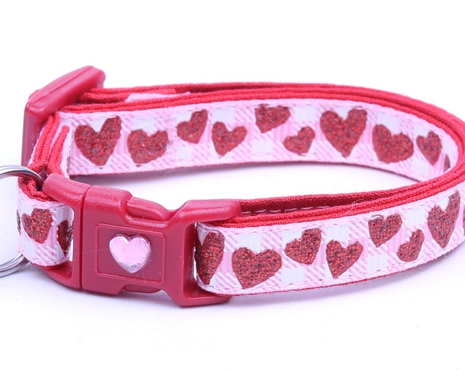 Valentines Day Cat Collar - Red Glitter Hearts on Light Pink Gingham - Kitten or Large Size