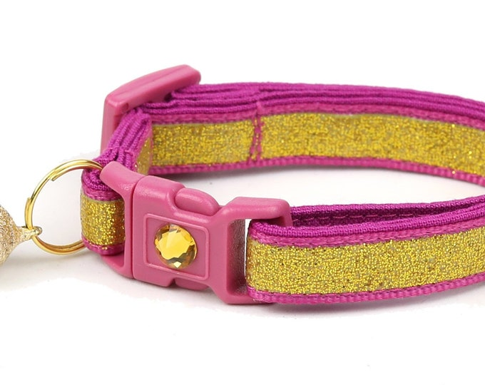 Gold Glitter Cat Collar -Gold Glitter Over Cranberry - Kitten or Large Size