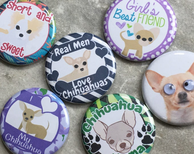 Chihuahua Magnets - Chihuahua Lover - Set of 6 - Refrigerator Magnets - Office Decor