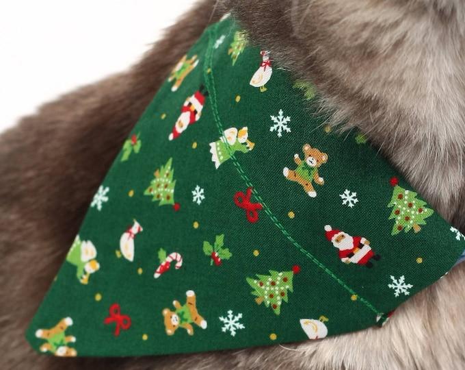 Pet Bandana - Christmas Icons on Green - Pet Scarf - Collar Cover - Christmas