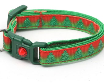 Christmas Cat Collar - Glittering Christmas Trees on Festive Ombre - Kitten or Large Size B1D78