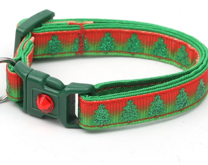 Christmas Cat Collar - Glittering Christmas Trees on Festive Ombre - Kitten or Large Size