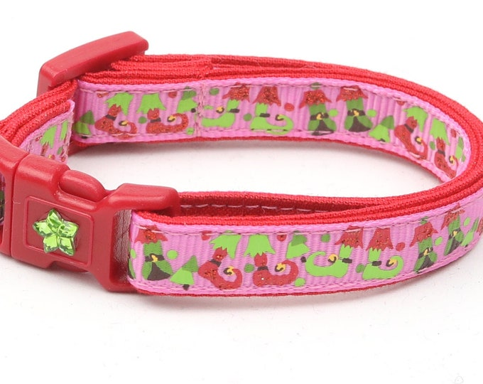 Christmas Cat Collar - Jolly Elf Boots on Pink - Kitten or Large Size