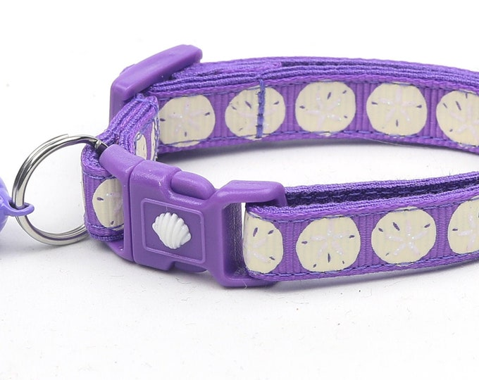 Beach Cat Collar - Sand Dollars on Purple - Kitten or Large Size - Nautical