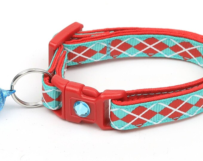 Argyle Cat Collar - Red Argyle on Aqua - Small Cat / Kitten Size or Large Size