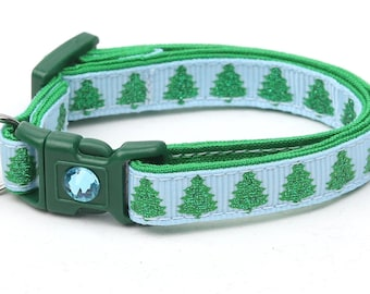 Christmas Cat Collar - Glittering Christmas Trees on Blue - Kitten or Large Size