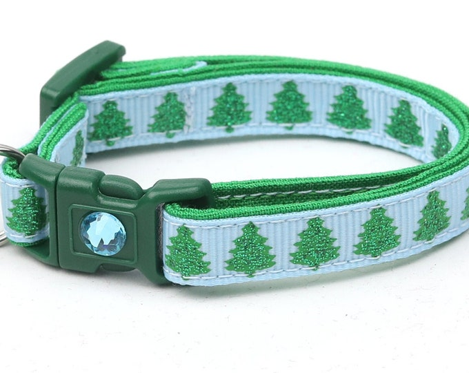Christmas Cat Collar - Glittering Christmas Trees on Blue - Kitten or Large Size