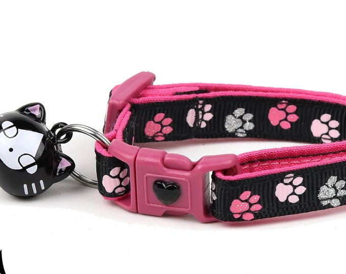 Pawprint Cat Collar - Pink Paw Prints on Black - Small Cat / Kitten Size or Large Size