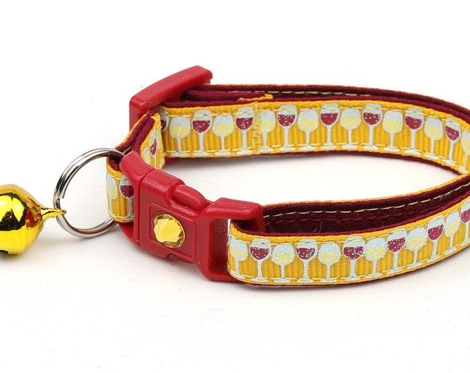 Wine Cat Collar - Wine Glasses on Gold - Small Cat / Kitten Size or Large Size