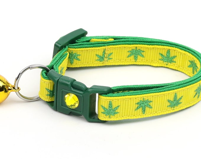 Weed Cat Collar - Marijuana Leaves on Yellow - Small Cat / Kitten Size or Large Size