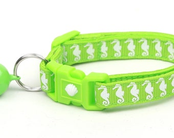 Tropical Cat Collar - Sea Horses on Green - Kitten or Large Size - Nautical B54D130