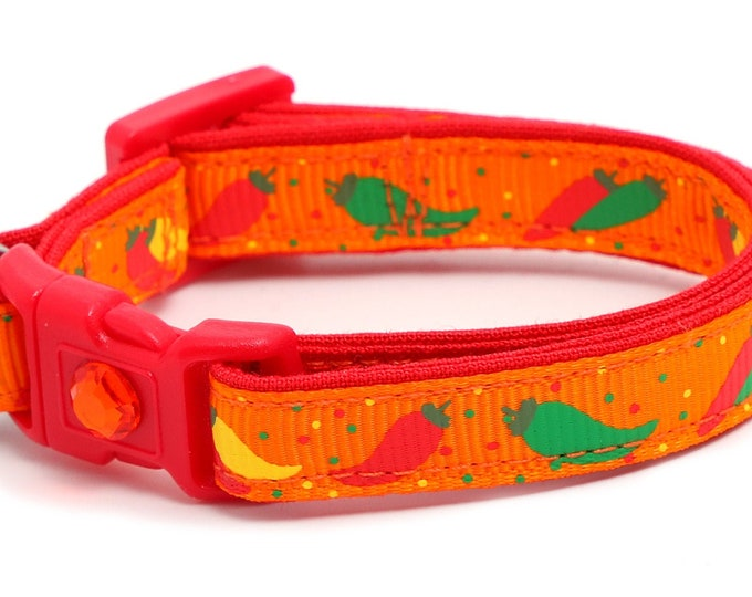 Pepper Cat Collar - Spicy Peppers on Orange - Small Cat / Kitten Size or Large Size B131D26