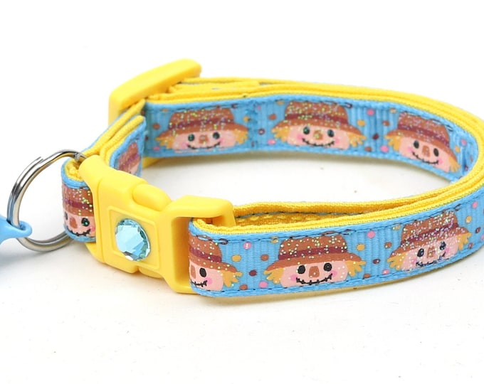 Fall Cat Collar - Scarecrows on Blue - Small Cat / Kitten Size or Standard / Large Size Breakaway Safety Collar