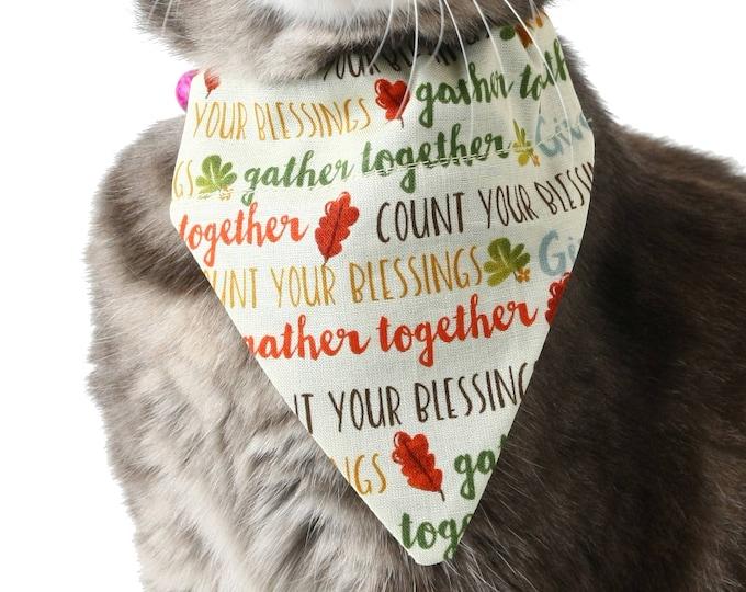 Pet Bandana - Thankful Words - Thanksgiving - Pet Scarf - Collar Cover