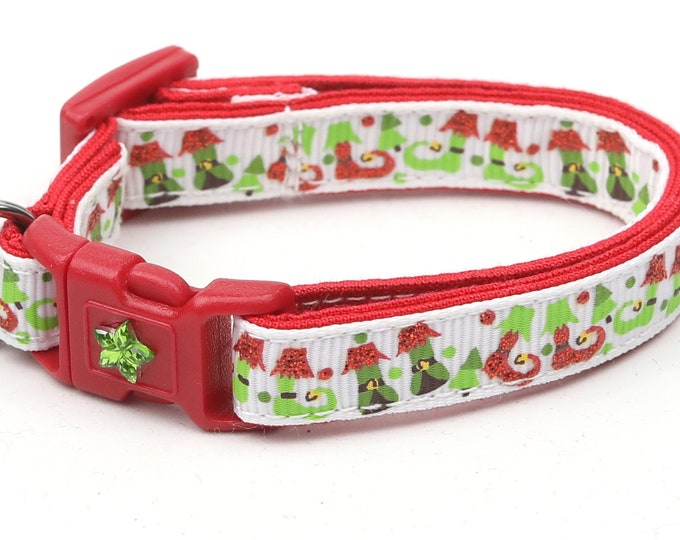 Christmas Cat Collar - Jolly Elf Boots on White - Kitten or Large Size