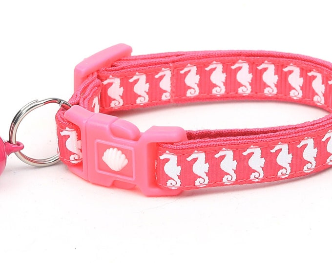 Tropical Cat Collar - Sea Horses on Pink - Kitten or Large Size - Nautical