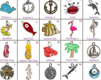 Collar Charms - Nautical & Tropical Charms - Flair - Extra Charms for Cat Collars - Bling - Jewelry Beach