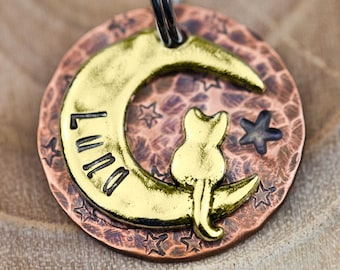 """Custom Cat Tag - Small Cat on the Moon (gold tone) - 7/8"""" Copper Pet ID Tag - Hand Stamped Cat ID Tag"""