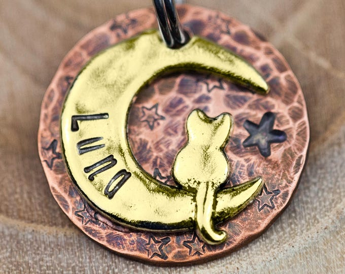 "Custom Cat Tag - Small Cat on the Moon (gold tone) - 7/8"" Copper Pet ID Tag - Hand Stamped Cat ID Tag"