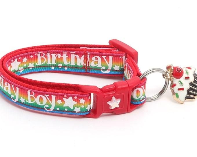 Birthday Cat Collar - Birthday Boy on Rainbow - Safety Breakaway - Kitten or Large Size B122D18