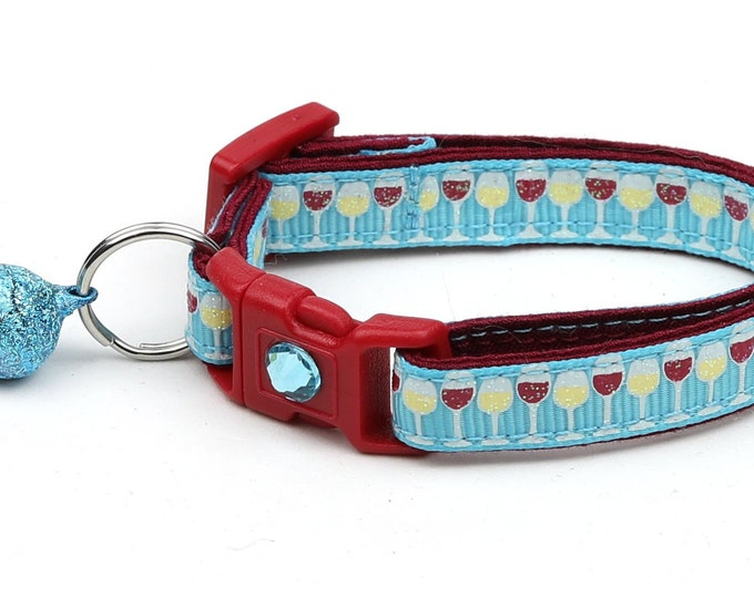 Wine Cat Collar - Wine Glasses on Blue - Small Cat / Kitten Size or Large Size