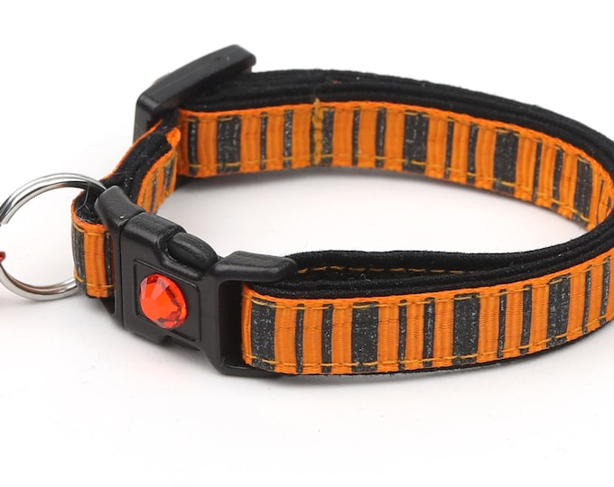 Striped Cat Collar - Spooky Stripes on Orange  - Kitten or Large Size - Halloween Cat Collar