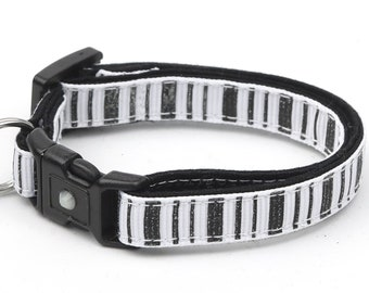 Striped Cat Collar - Spooky Stripes on White - Kitten or Large Size - Halloween Cat Collar B112D137