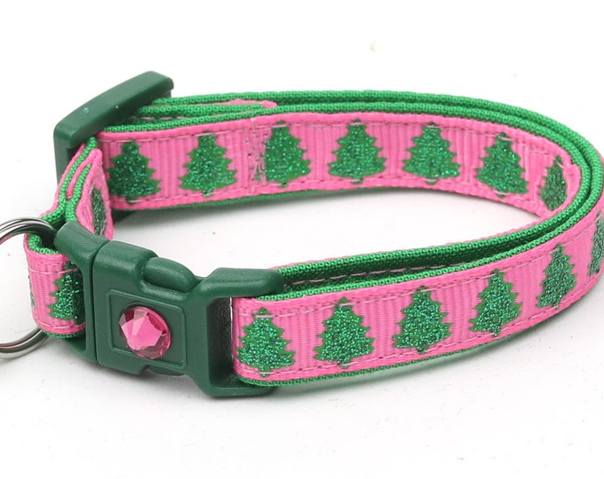 Christmas Cat Collar - Glittering Christmas Trees on Pink - Kitten or Large Size B68D78