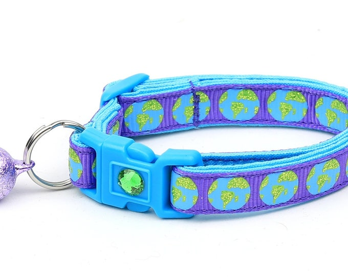 Space Cat Collar - Earth on Purple - Breakaway Cat Collar - Kitten or Large size
