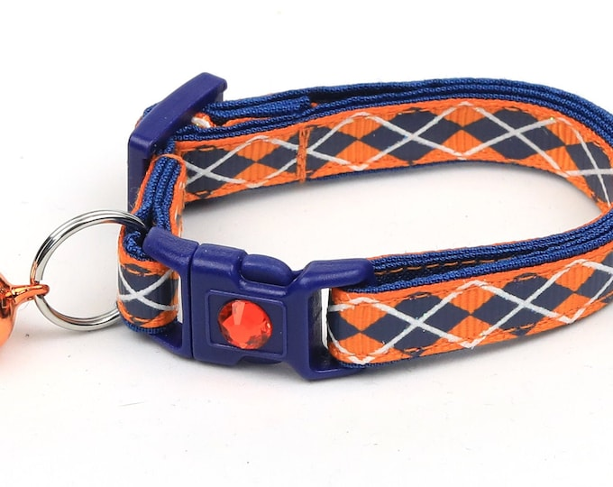 Argyle Cat Collar - Navy Argyle on Orange - Small Cat / Kitten Size or Large Size