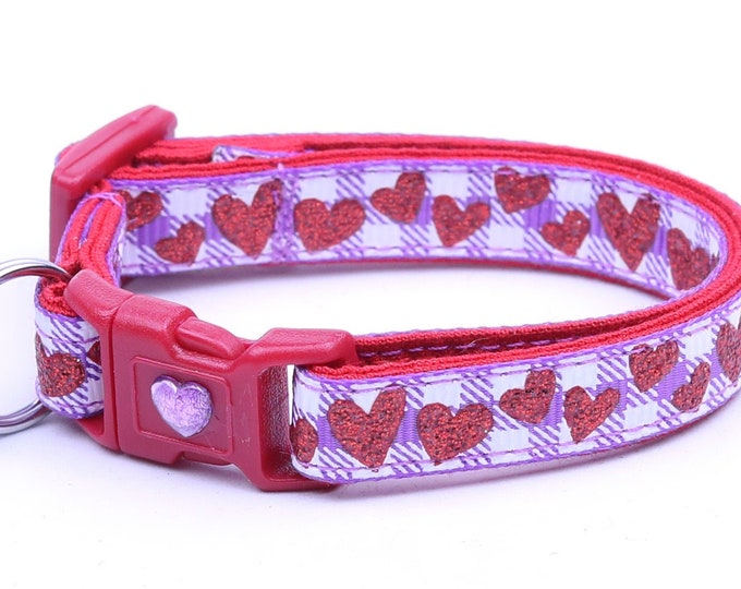 Valentines Day Cat Collar - Red Glitter Hearts on Purple Gingham - Kitten or Large Size