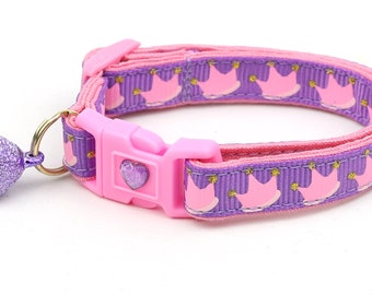 Crown Cat Collar - Pink Crowns on Purple - Kitten or Large Size
